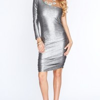 Pewter Long Sleeve Sexy Party Dress