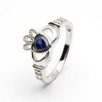 SEPTEMBER Birth Month Silver Claddagh Ring LS-SL90-9. Made in Ireland.