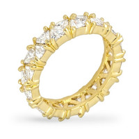 Freya Trillion Cut Eternity Stackable Gold Ring | 6ct | Cubic Zirconia | 18k Gold