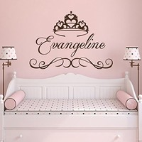 Wall Decal Personalized Girl Name Vinyl Sticker Decals Custom Name Princess Crown Nursery Wall Decor Kids Room Childrens Bedroom NS1028