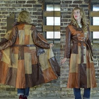 Vintage 70's Skin Gear Bohemian Patchwork Leather Trench Coat Jacket