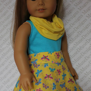 18 inch doll clothes, yellow circle skirt, butterfly circle skirt, blue tank top, infinity scarf,  american girl, Maplelea