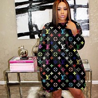 LV Louis Vuitton Fashion Women Loose Long Sleeve Dresses