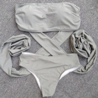 STRAPLESS GREY CROSS TWO PIECE BIKINI