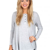 Good Morning Heather Grey Thermal Knit Blouse | Monday Dress Boutique