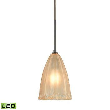 Calipsa 1-Light Mini Pendant in Oiled Bronze with Light Amber Frosted Glass - Includes LED Bulb