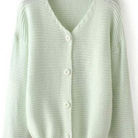 Green V Neck Long Sleeve Buttons Knit Sweater