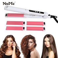 Ceramic Hair Curler 3 in 1 Curling Iron Interchangeable Hair Straightener Corrugated Styling Tools Flat Iron Hair Salon Tools