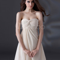 Champagne A-line Strapless Beading Chiffon Cocktail Dress