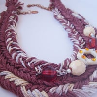 Cotton thread necklace, Double brown braided necklace, Woman unique jewellery, Brown braid, Woman gift idea, Unique handmade jewellery