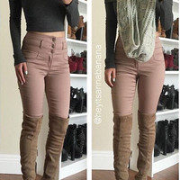 Triple Button Peach Pants