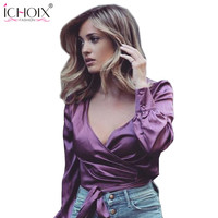 ICHOIX Autumn Shirts Crop Women Long Sleeve Clothes Ladies Sexy Shirt Luxe Silk Vibes Solid Blouse Shirts Camisas Femininas