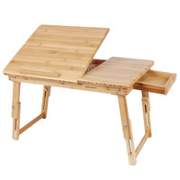 Songmics 100% Bamboo Adjustable Laptop Desk Foldable Breakfast Serving Bed Tray w' Tilting Top and Drawer ULLD01N