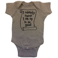 OakTees Baby One Piece Harry Potter Up to No Good Romper Creeper (Black print)