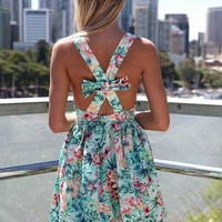 Floral Sleeveless Dress with Cross Bow Back&Gathered Waist