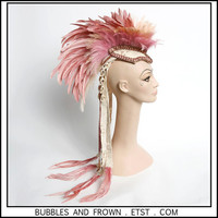 Dusted Blush.... Soft Pink and Cream Feather Mohawk