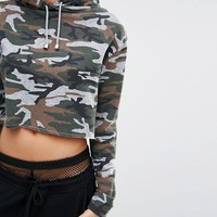 Missguided Camo Print Cropped Hoodie at asos.com