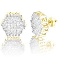 10K Gold Hexagon Style icro pave Real Diamonds Screw Back Earrings