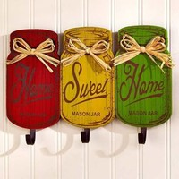 Country Mason Jar Wall Hooks Rustic Home Sweet Home Plaque Kitchen Home Decor