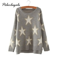 pull femme 2016 Women Knitted Sweaters For Women Korean loose five-pointed star sweater hedging bottoming female sweater Womens