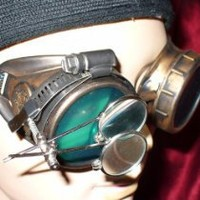 My Associates Store - Steampunk Victorian Goggles Glasses gold green magnifying lens