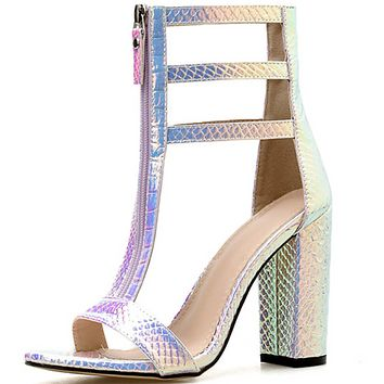 Explosive hot sale thick-heeled Roman shoes high-heel snake sandals shoes