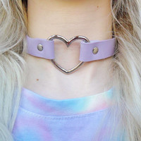 Leather Love Heart Pastel Purple Lilac Silver Plated Pendant Necklace Choker Jewellery Jewelry