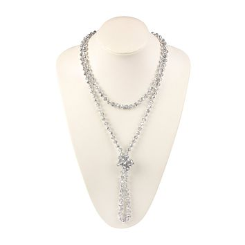 16714 - LONG KNOTTED RONDELLE BEADS NECKLACE
