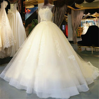 Organza Lace  Floor-Length  Ball Gown Wedding dress Chapel Train  Lace up  Beading  Bridal Gown Custom made