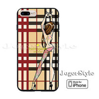Kate Spade Sexy Girl Tatto Checkered Pattern Print On Hard Case iPhone 6s 7 7+