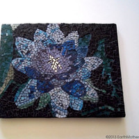 Mosaic Wall Art // Stained Glass Mosaic // Glass Art // Wall Hanging // Wall Decor // Blue // Purple // Green // Abstract // Lily