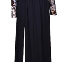 Nicasia Flower Sequin Embroidered Maxi Dress - Black