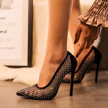 2020 new women's pointed toe point diamond mesh stiletto heels shoes