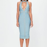 Missguided - Peace + Love Blue Tab Neck Gold Ring Detail Midi Dress