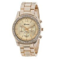 Classic Round Women's Crystal Watch - Shock Resistant
