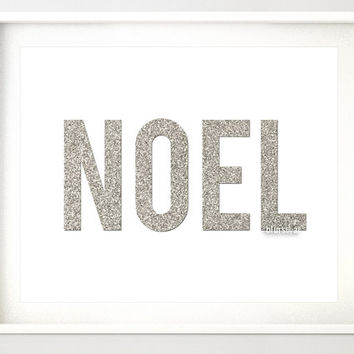 "Silver Christmas printable "" Noel "" silver glitter typography quote print, silver glitter word, silver party, holiday print, noel print pp90"