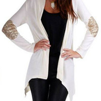 White Elbow Patch Sequined Cardigan