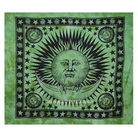 Green Tie Dye Hippie Sun and Moon Stars Indian Tapestry Wall Hanging Bed Cover on RoyalFurnish.com