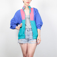 Vintage 1980s Windbreaker Jacket Color Block Track Jacket 80s Wind Breaker Jacket Purple Teal Pink Sporty Athletic Bomber Jacket M Medium