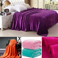 Fashion Soft Throw Blanket Warm Coral Plaid Blankets Travel Flannel Sofa Solid Color Fleece Blankets Office Product Children Bla
