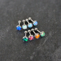Opal Cartilage Earring Stud, Cartilage Ring, Tragus Stud, Tragus Jewelry, Helix Jewellery, Helix Earring, Conch Stud, Conch Earring