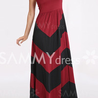 Bohemian Red Color Block Strapless Maxi Dress