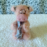 Miniature mohair jointed Pig, shelf sitter Plush mini Farm animal figure, Kid's Wish, Gift idea, Pay It Forward, Child's Art for a Cause