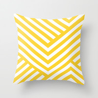 Yellow and White Stripes Throw Pillow by Liv B