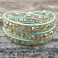 Beaded Leather Wrap Bracelet 3 Wrap with Gold or Silver Czech Glass Beads on Mint Green Leather