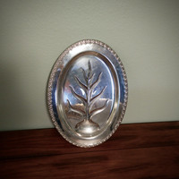 Wm Rogers Eagle Star silverplate meat tray, 16in Tree of Life platter, Eagle WM Rogers Star, vintage meat tray, silver serving