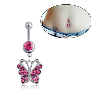 New Charming Dangle Crystal Navel Belly Ring Bling Barbell Button Ring Piercing Body Jewelry = 4661635140