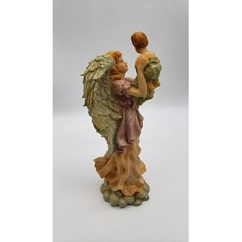 9.5in Resin Angel Holding Child Figurine