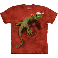 PEACE ON EARTH GECKO The Mountain Christmas Lizard Santa Hat T-Shirt S-3XL NEW