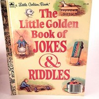 Jokes and Riddles Little Golden Book Vintage 1983 Children's Book Preschool Toddler Picture Book FREE SHIPPING